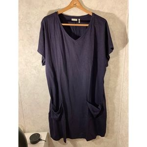 Logo Layers Navy Dress with Front Pockets